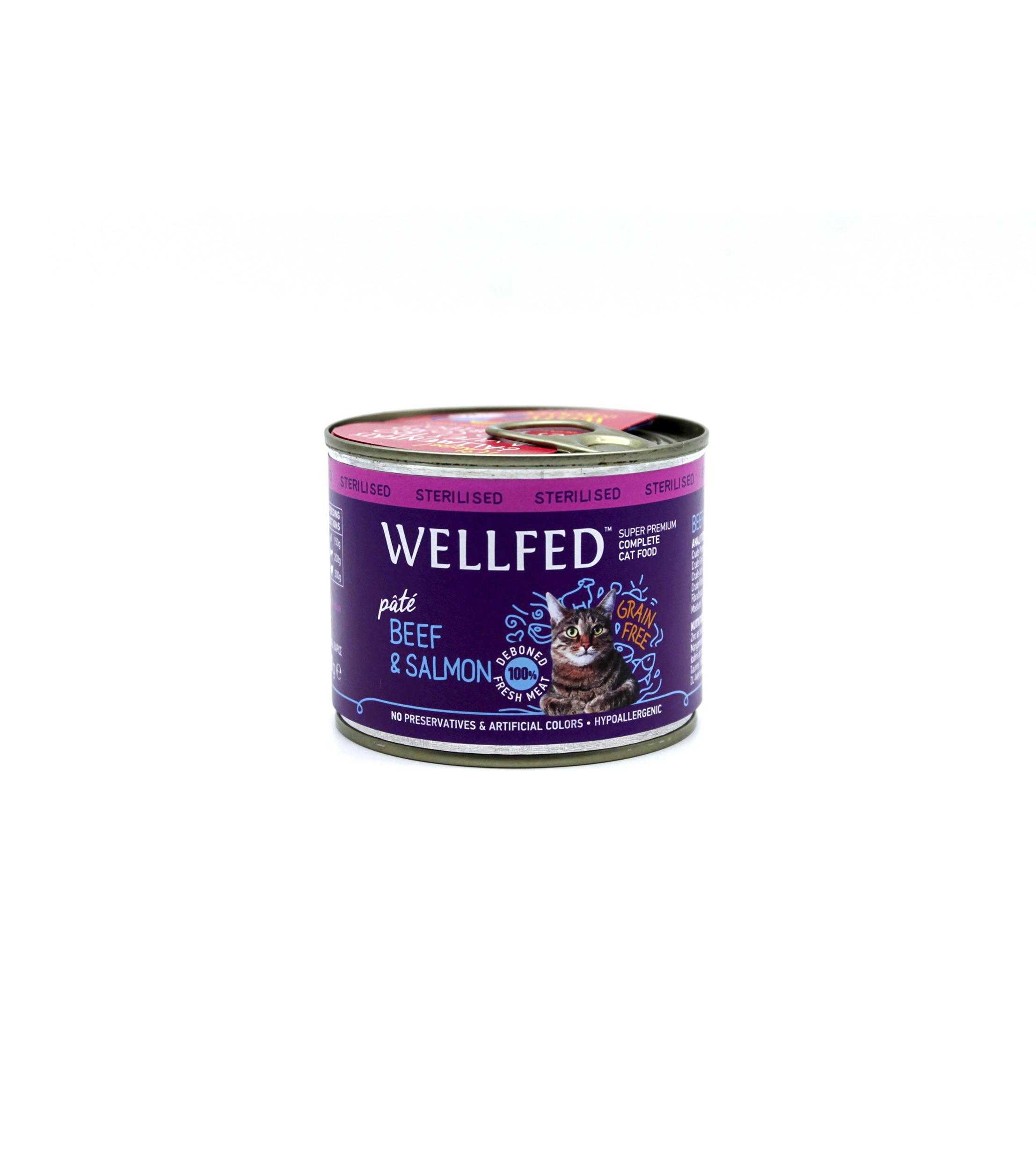 Wellfed Gatos Esterilizados Buey Y Salmón